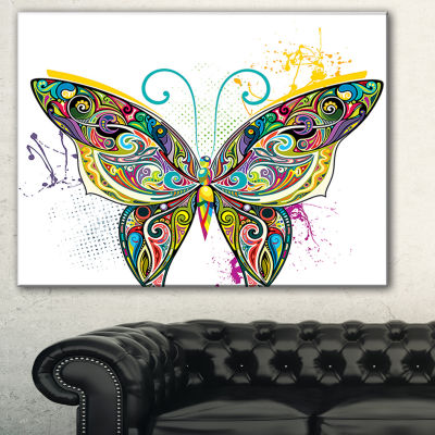 Designart Openwork Butterfly Abstract Print On Canvas - 3 Panels