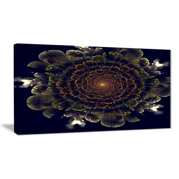 Designart Orange Fractal Flower With Green Abstract Print On Canvas