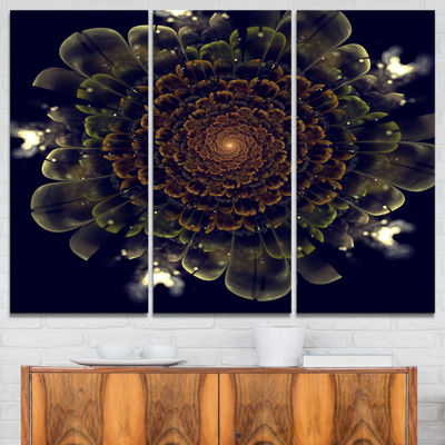 Designart Orange Fractal Flower With Green Abstract Print On Canvas - 3 Panels