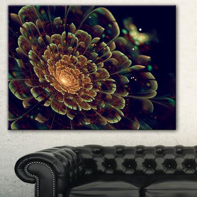 Designart Orange Metallic Fractal Flower AbstractPrint On Canvas - 3 Panels