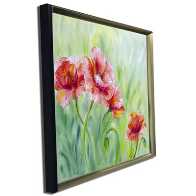 Designart Pale Red Poppies Floral Art Canvas Print