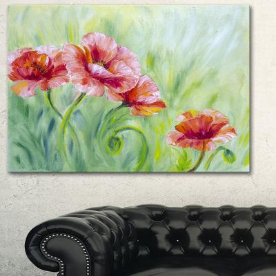 Designart Pale Red Poppies Floral Art Canvas Print- 3 Panels