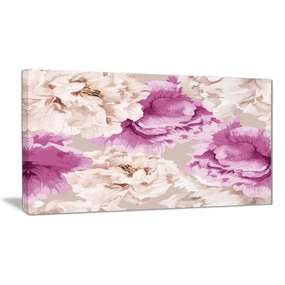 Designart Peony Floral Pattern Floral Art Canvas Print