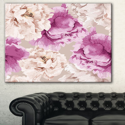 Designart Peony Floral Pattern Floral Art Canvas Print - 3 Panels