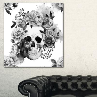 Designart Peony Watercolor Skull Abstract Canvas Art Print