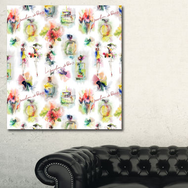 Designart Perfume Bottles And Flowers Abstract Canvas Art Print