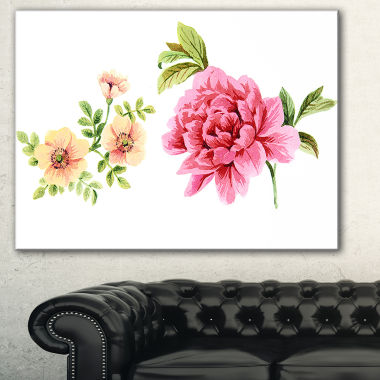 Designart Pink And Orange Flowers Watercolor Floral Canvas Art Print