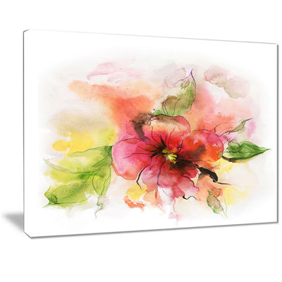Designart Pink And Red Floral Design Watercolor Floral Canvas Art Print