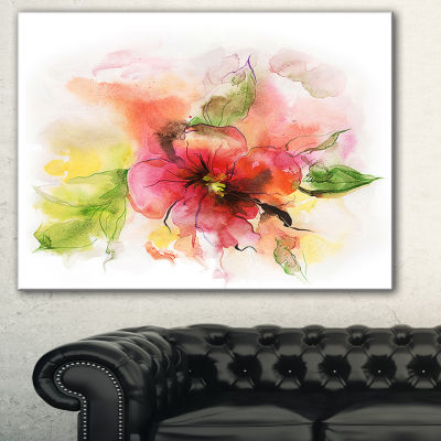 Designart Pink And Red Floral Design Watercolor Floral Canvas Art Print - 3 Panels