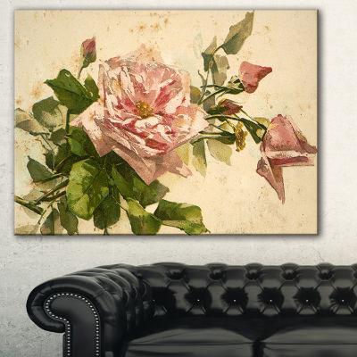 Designart Pink Flower Illustration Floral PaintingCanvas - 3 Panels