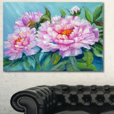 Designart Pink Peonies Floral Art Canvas Print - 3Panels