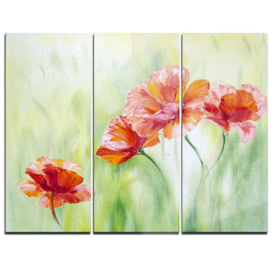 Designart Poppies In Light Green Floral Art CanvasPrint - 3 Panels