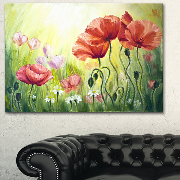 Designart Poppies In Morning Floral Art Canvas Print - 3 Panels
