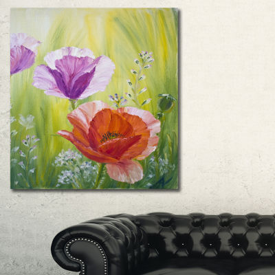 Designart Poppies In The Morning Floral Art CanvasPrint