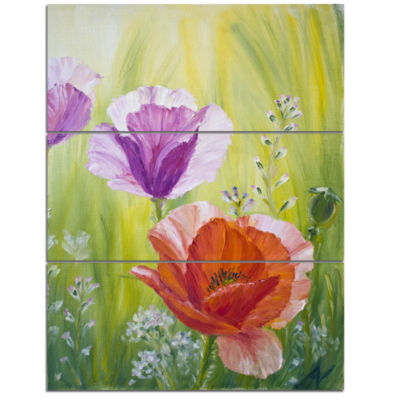 Designart Poppies In The Morning Floral Art CanvasPrint - 3 Panels