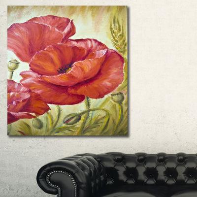 Designart Poppies In Wheat Floral Art Canvas Print