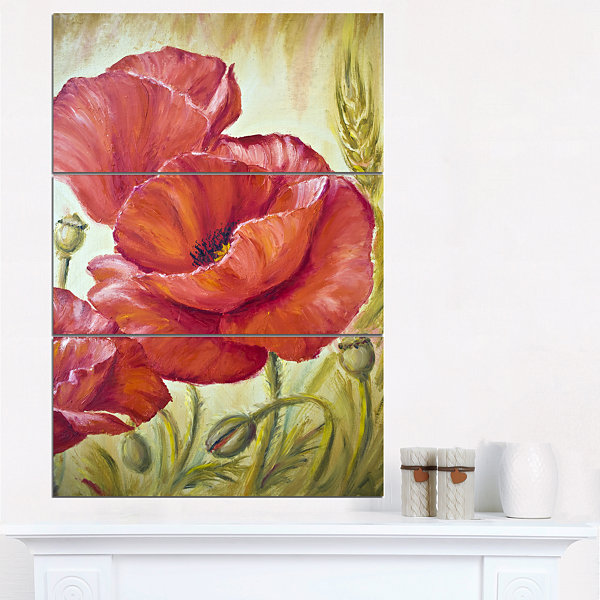 Designart Poppies In Wheat Floral Art Canvas Print- 3 Panels