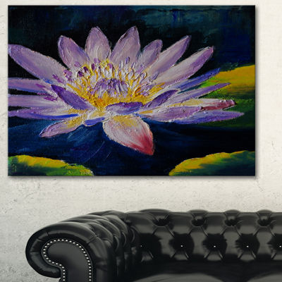 Designart Purple Lotus Flower Floral Art Canvas Print - 3 Panels