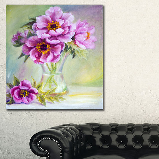 Designart Purple Peonies In Vase Floral Art Canvasprint 3 Panels