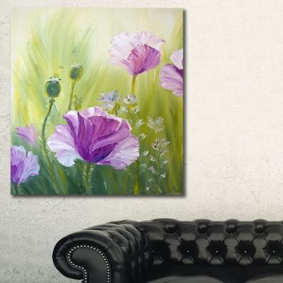 Designart Purple Poppies In Morning Floral Art Canvas Print