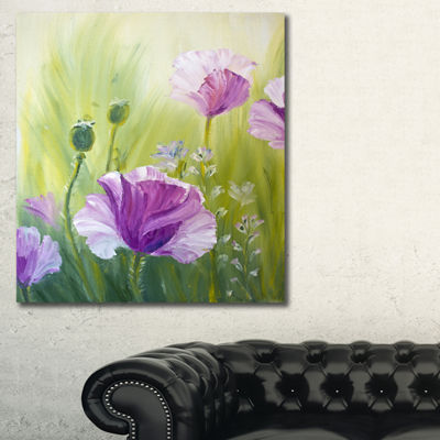 Designart Purple Poppies In Morning Floral Art Canvas Print