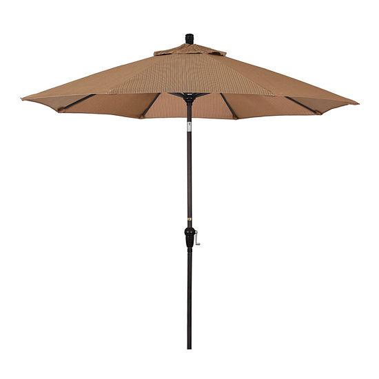 California Umbrella 9' Sunset Series Olefin Patio Umbrella With Bronze Aluminum Pole Aluminum Ribs Auto Tilt Crank Lift