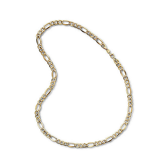 "Mens 10K Yellow Gold 22"" 7.5mm Semi-Solid Figaro Chain Necklace"