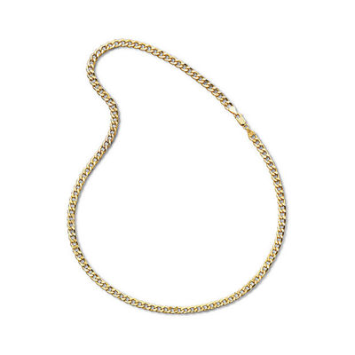 """Made In Italy Mens 10K Yellow Gold 22"""" 6mm Semi-Solid Curb Chain Necklace"""