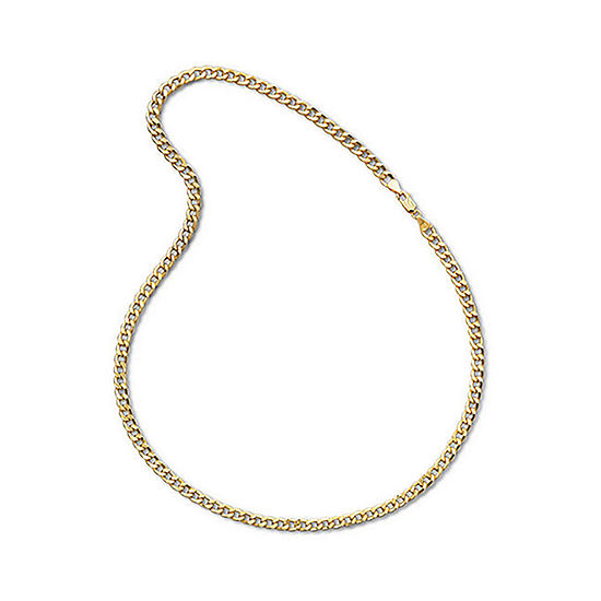Made In Italy Mens 10k Yellow Gold 22 6mm Semi Solid Curb Chain Necklace