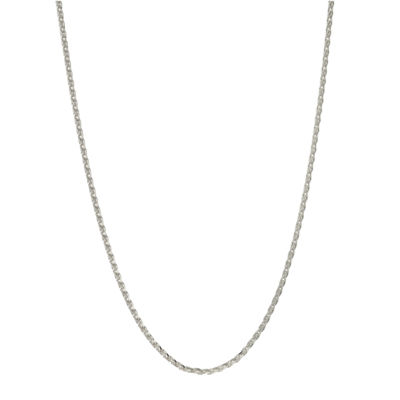 Made in Italy Sterling Silver 24 Inch Solid Wheat Chain Necklace
