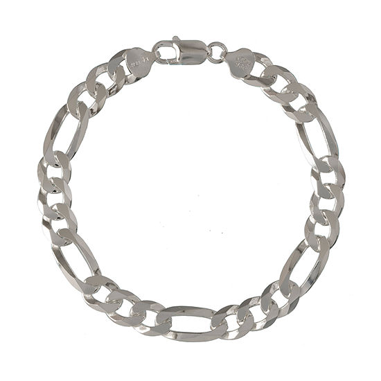 Made in Italy Sterling Silver 9 Inch Solid Figaro Chain Bracelet