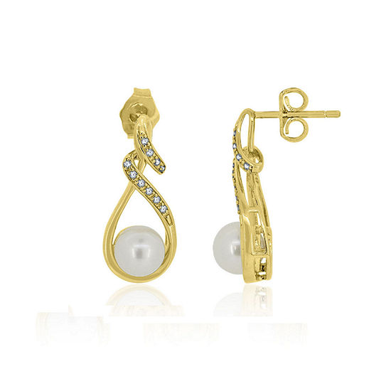 White Cultured Freshwater Pearl 14K Gold Over Silver Drop Earrings