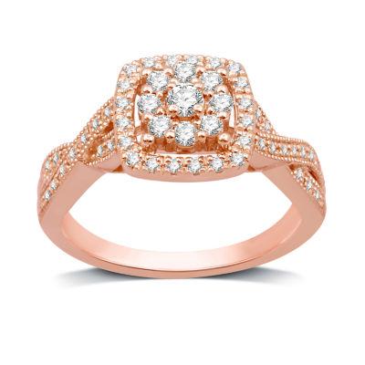 Diamond Blossom Womens 1/2 CT. T.W. Genuine Diamond 10K Rose Gold Cocktail Ring