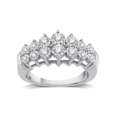 Womens 1/4 CT. T.W. Genuine Diamond 10K White Gold Band