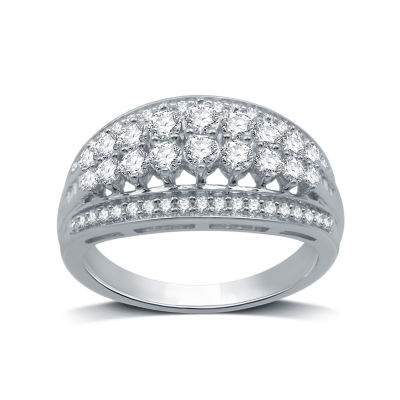 Womens 1 CT. T.W. Genuine Diamond 10K White Gold Cocktail Ring