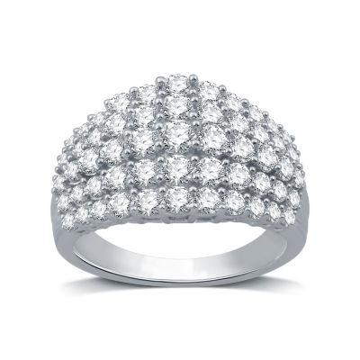 Womens 2 CT. T.W. Genuine Diamond 10K White Gold Cocktail Ring