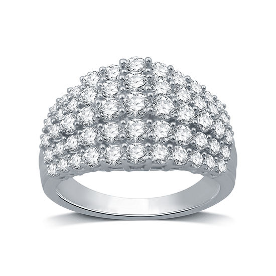 Womens 2 CT. T.W. Genuine Diamond 10K White Gold Cocktail Ring