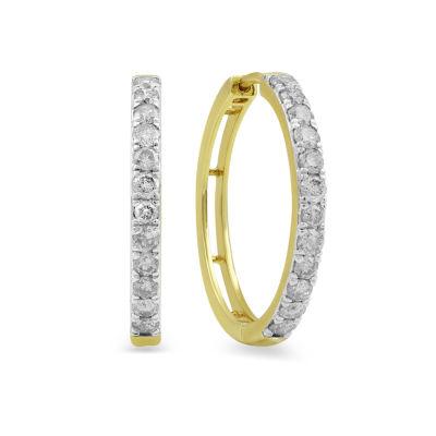 1 CT. T.W. Genuine White Diamond 10K Gold 22.6mm Hoop Earrings