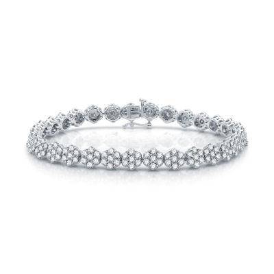 Diamond Blossom Genuine 7 CT. T.W. Diamond 10K White Gold Flower 7.5 Inch Tennis Bracelet