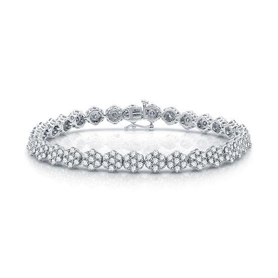 Diamond Blossom Genuine 7 Ct Tw Diamond 10k White Gold Flower 75 Inch Tennis Bracelet