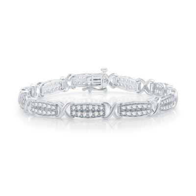 10K White Gold Solid Link Bracelet