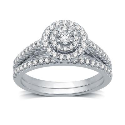 Womens 3/4 CT. T.W. Genuine White Diamond 10K White Gold Bridal Set
