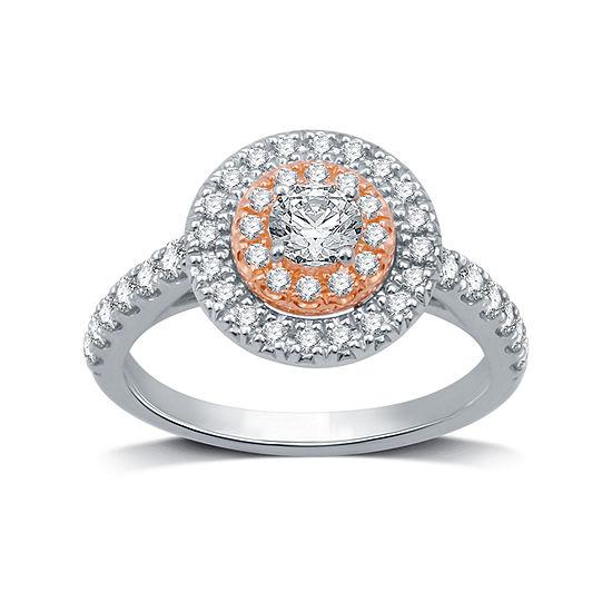 Womens 1 CT. T.W. Genuine White Diamond 10K Two Tone Gold Bridal Set