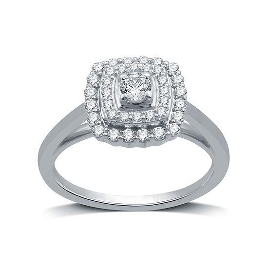 Womens 1/2 CT. T.W. Genuine White Diamond 10K White Gold Round Bridal Set