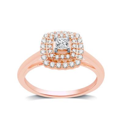 Womens 1/2 CT. T.W. Genuine White Diamond 10K Rose Gold Round Engagement Ring