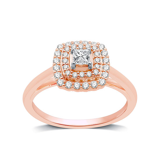 Womens 1/2 CT. T.W. Genuine White Diamond 10K Rose Gold Round Engagement Ring