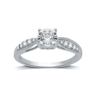 Womens 1/2 CT. T.W. Genuine White Diamond 10K White Gold Solitaire Engagement Ring