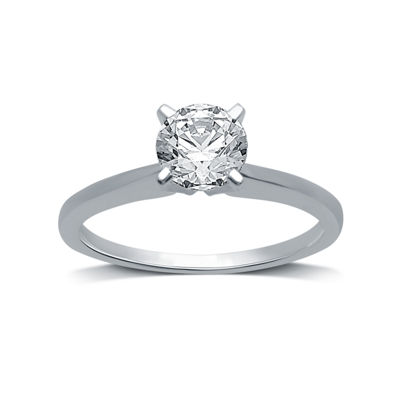 Womens 1 CT. T.W. Genuine White Diamond 10K White Gold Round Solitaire Engagement Ring