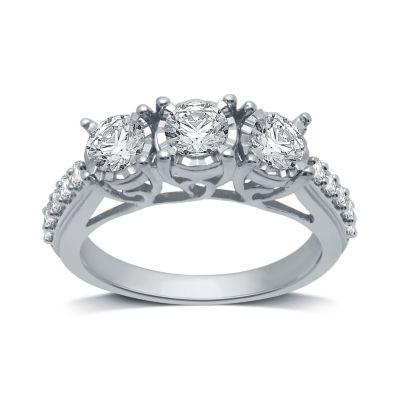 Womens 1 1/4 CT. T.W. Genuine White Diamond 10K White Gold 3-Stone Engagement Ring