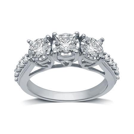 Womens 1 1/4 CT. T.W. Genuine White Diamond 10K White Gold 3-Stone Engagement Ring. 8